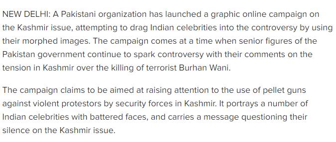 Pakistani campaign looks to drag Indian celebs into Kashmir row